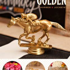 Kentucky Derby Party Decor - Gold Painted Horses and Jockeys