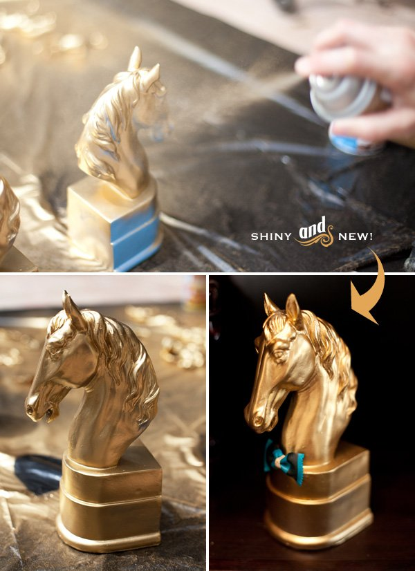spray painting horses gold - hwtm