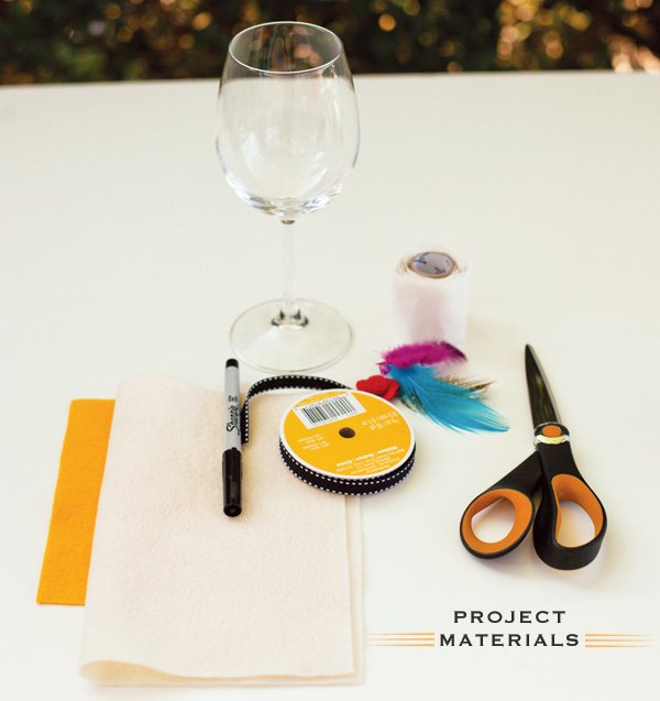 DIY Wine Glass Hat Materials