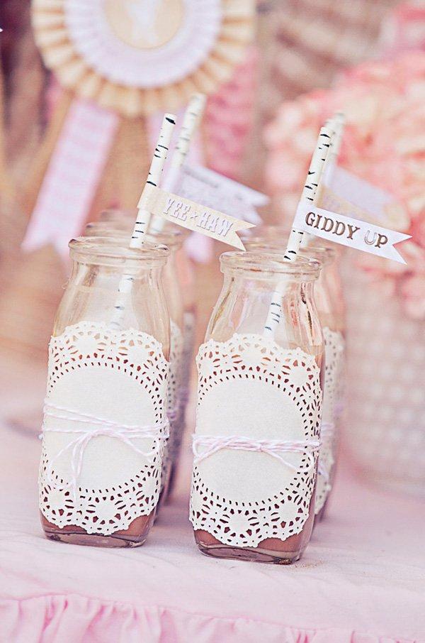 doily wrapped milk bottles