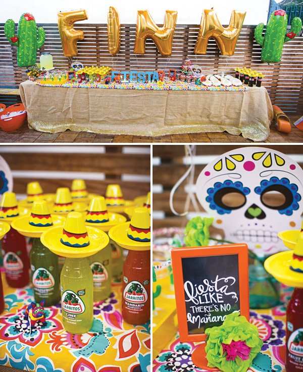 outdoor fiesta drinks table with big letter and cactus balloons