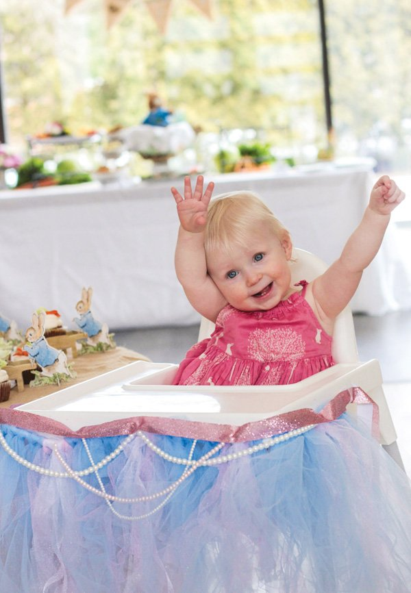 first birthday girly tulle and peal decorated high chair