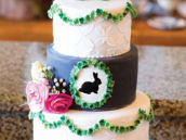 garden bunny gender neutral baby shower cake