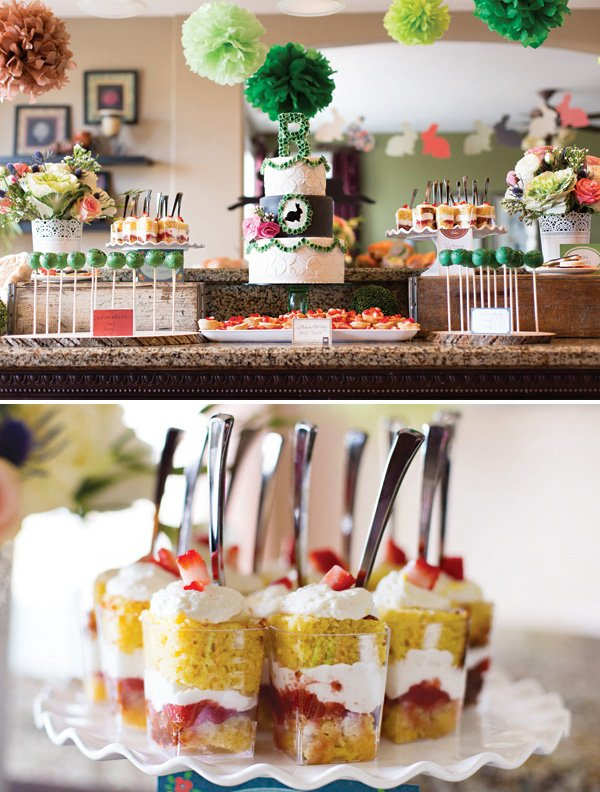 garden bunny gender neutral baby shower dessert table