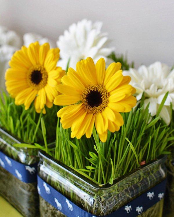 gerber daisy and grass table centerpiece