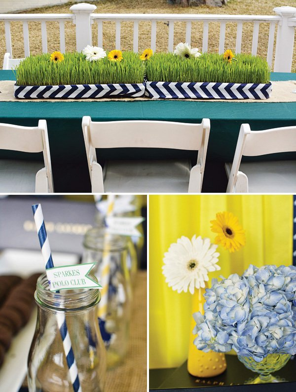gerber daisy decor and grass table centerpiece