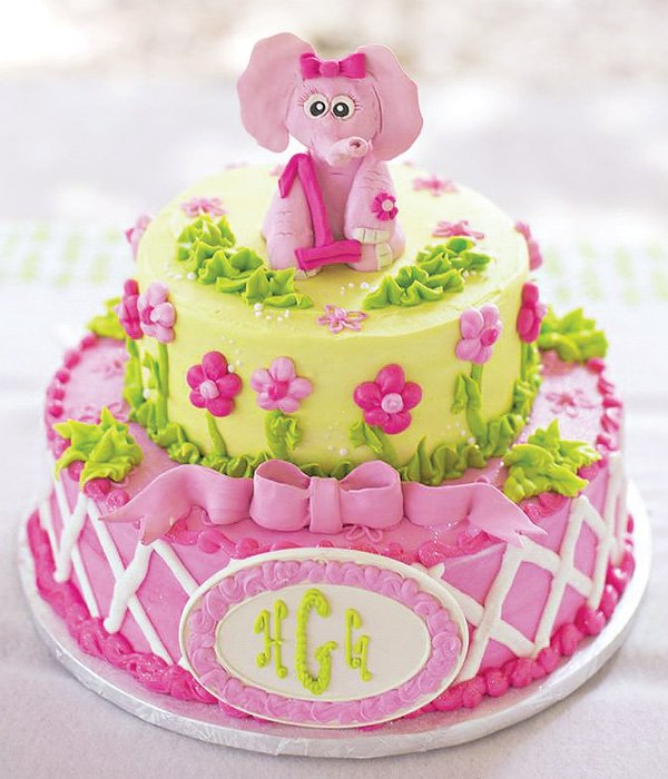 Girly Pink And Green Elephant First Birthday Cake