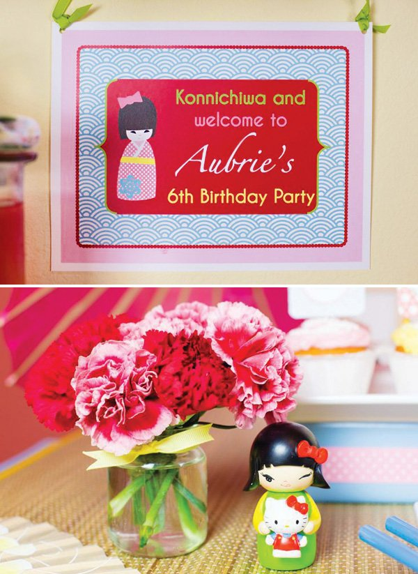 girly kokeshi birthday party welcome sign