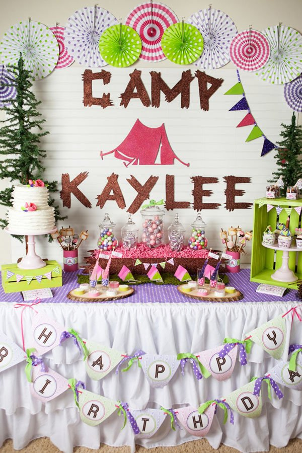 glamping party dessert table
