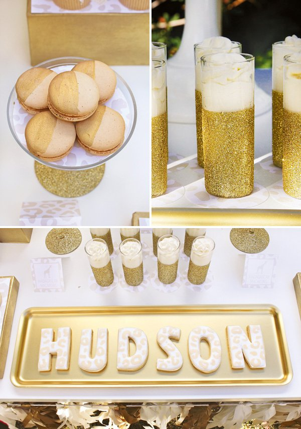 gold glitter desserts table