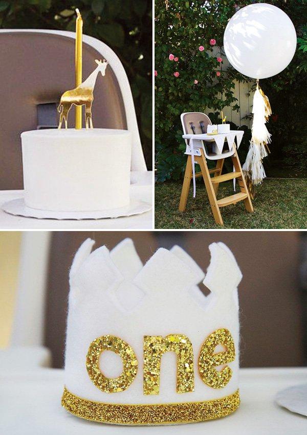 gold glitter first birthday felt crown