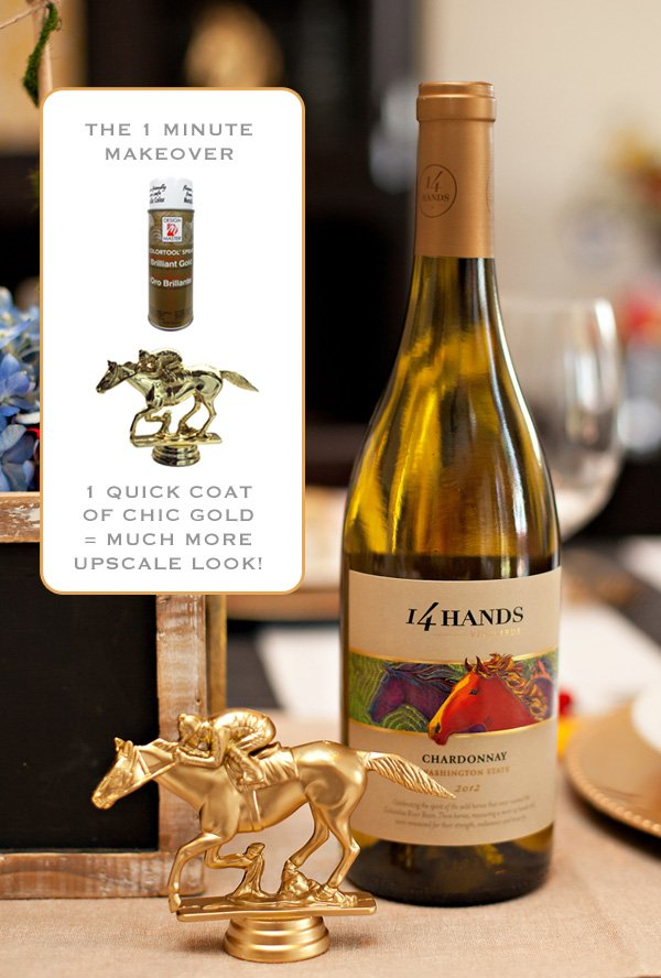 golden horse and jockey party decor and 14 hands wine