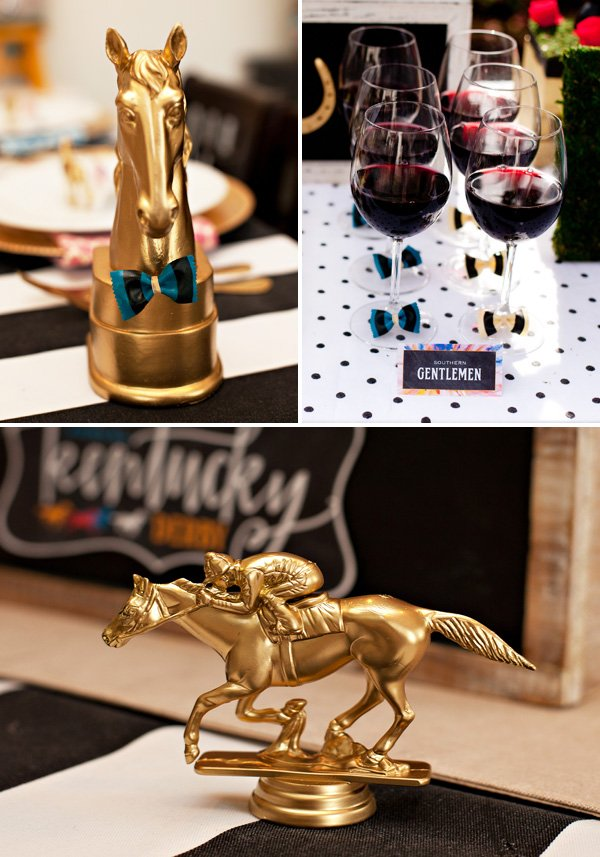 Gold Painted Horses and Jockeys - Kentucky Derby Party