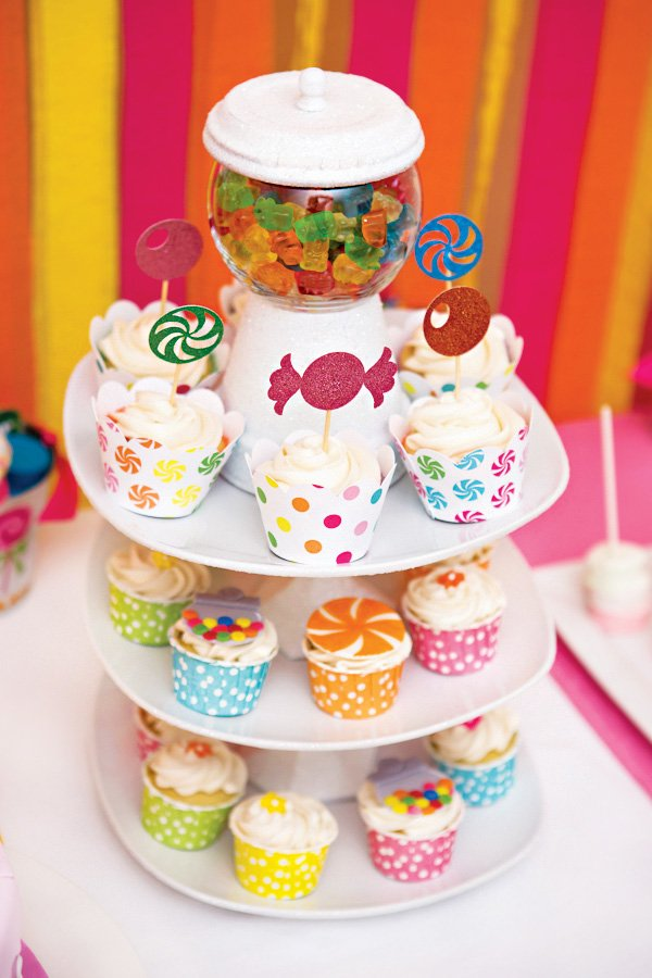 DIY gumball machine cupcake tower