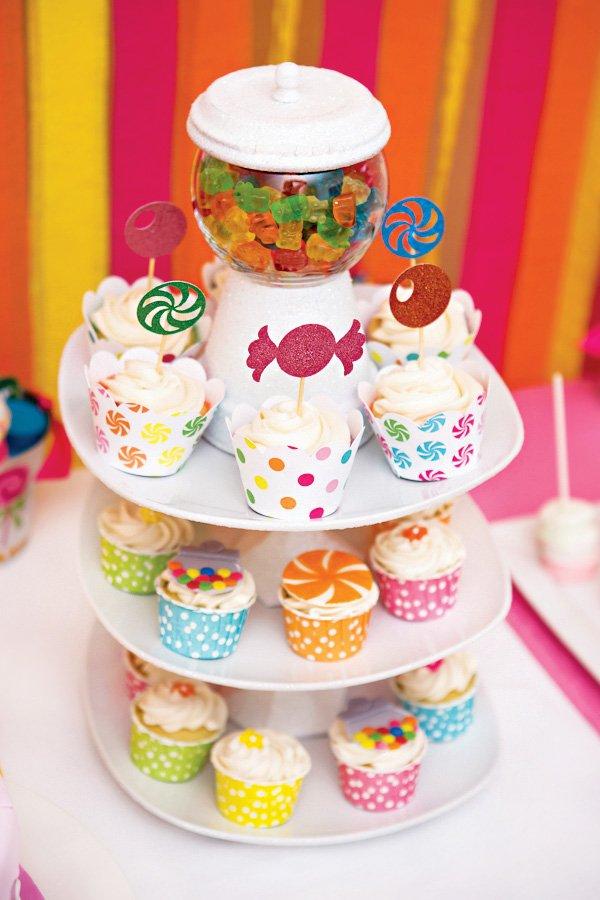 DIY gumball machine cupcake tower