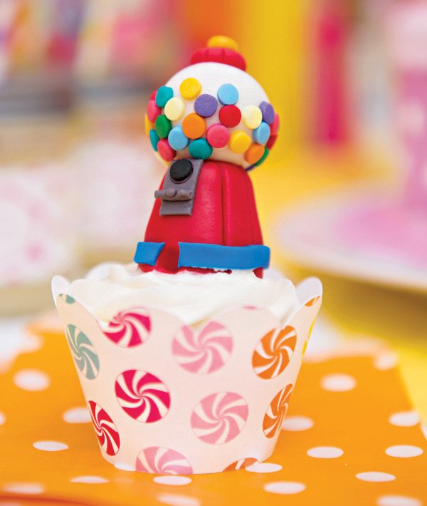 mini fondant gumball machine cupcake topper