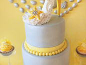 sugar high heel topped beach bridal shower cake