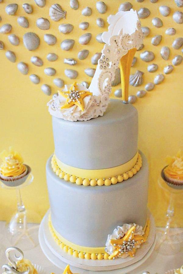 sugar high heel topped beach bridal shower cake