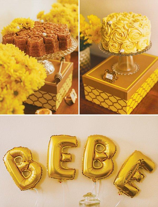 honeycomb baby shower cake and a yellow swirl cake