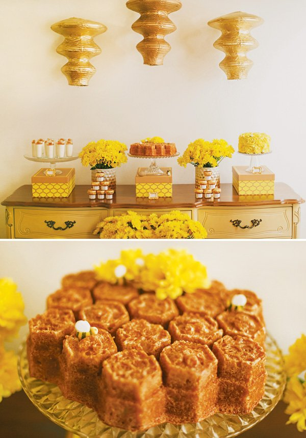 honeycomb themed dessert table and honeycomb cake