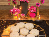 hot pink party floral arrangements and mini coconut cakes