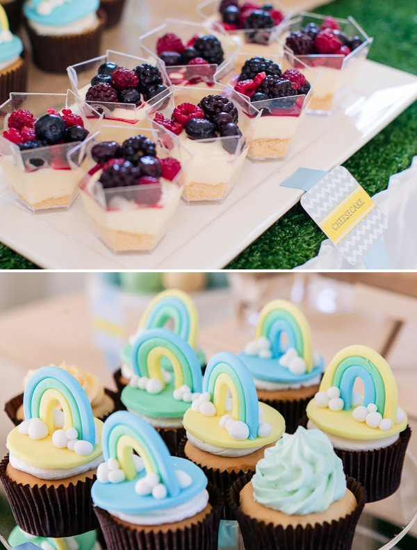 individual cheesecake cups and rainbow cupcakes