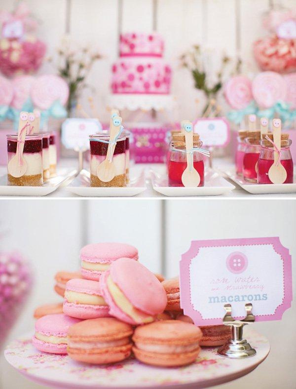 pink macarons and individual dessert jars