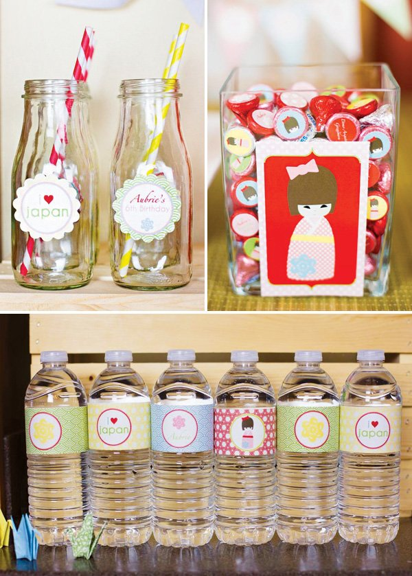 japan doll party decor and bottle wraps