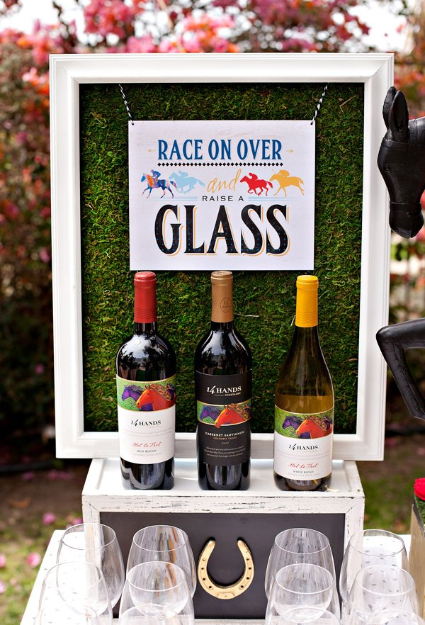 Kentucky Derby Printable Drink Sign and 14 Hands Wine