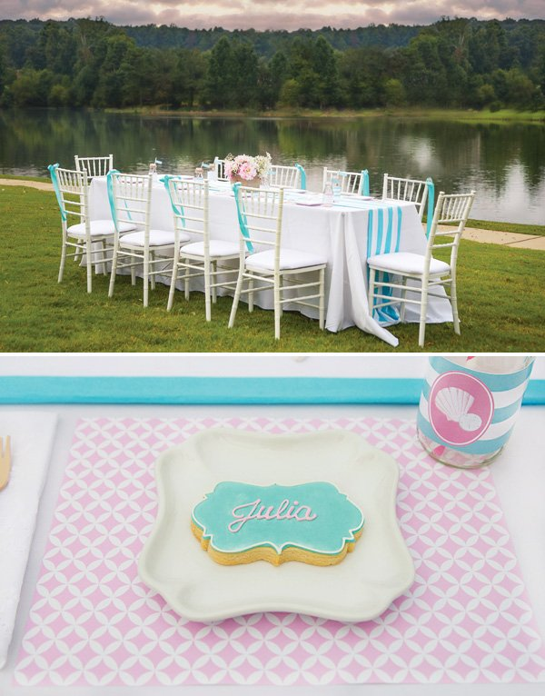 mermaid party table by a lake