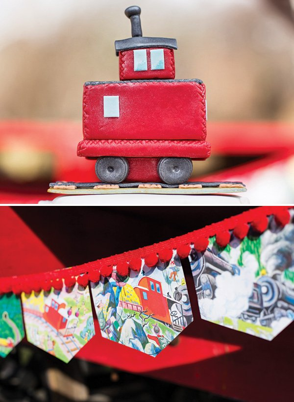 little red caboose cake topper and party banner