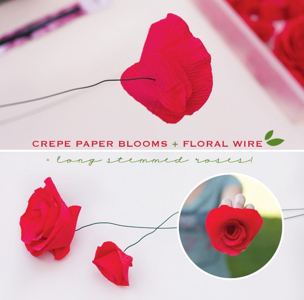 diy crepe paper roses with wire stems