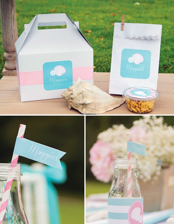 mermaid party favors and party flags