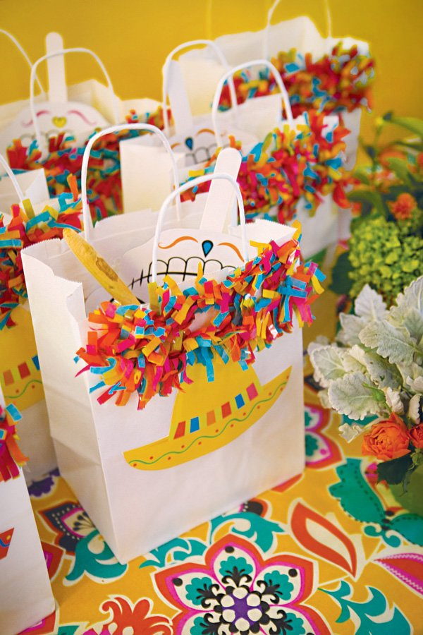 mexican piñata confetti decorated party favor bags