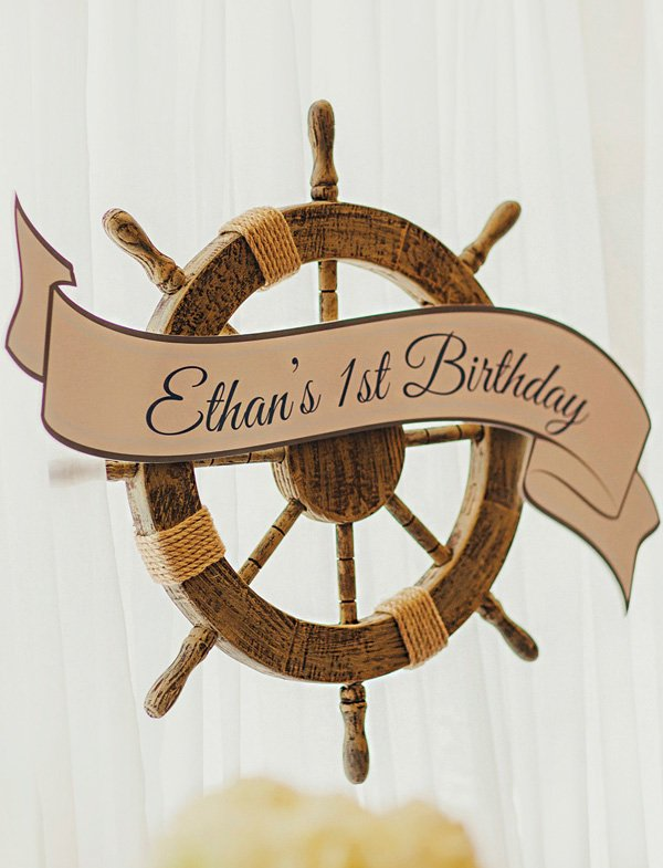 nautical wheel helm party decor and birthday sign