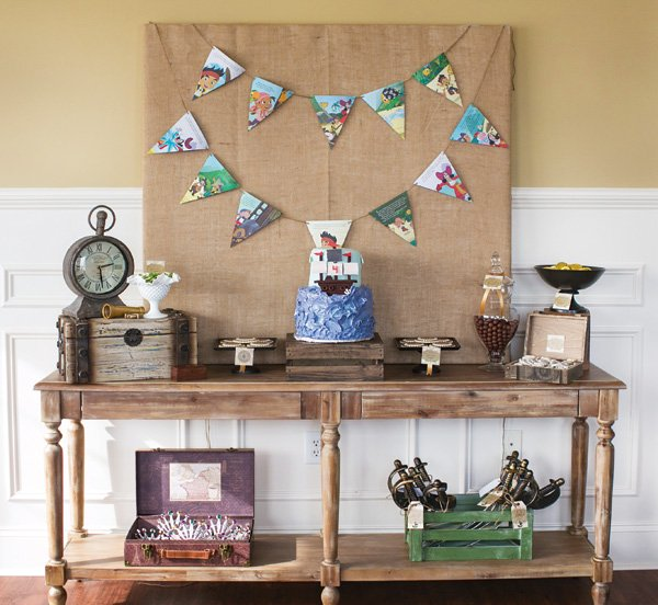 neutral jake and the neverland pirates party dessert table