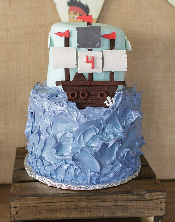 neutral jake pirate ship birthday cake