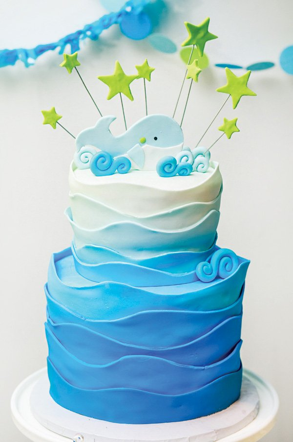 blue ombre whale ocean cake