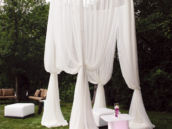 outdoor white party tent and seating