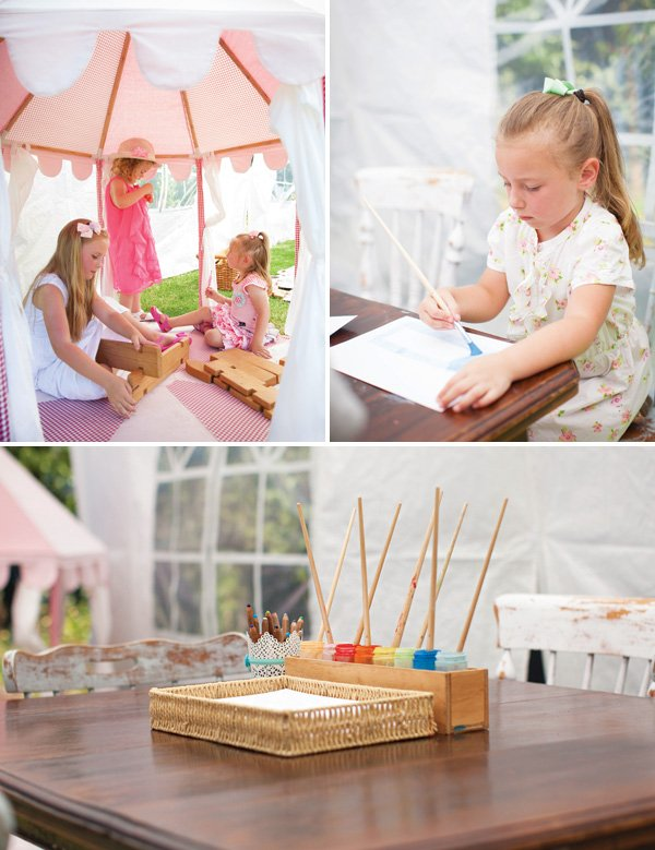 tent and painting birthday party activties
