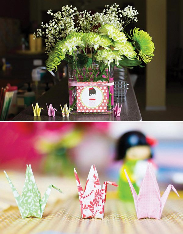paper crane party decor