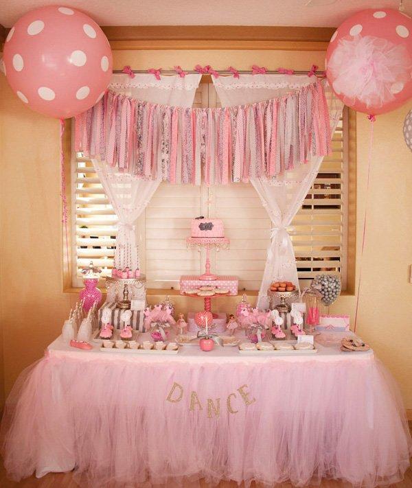 pink ballet dessert table