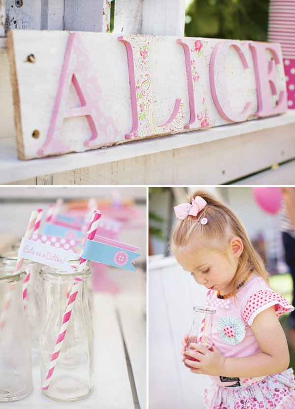 pink birthday party name sign and party flags
