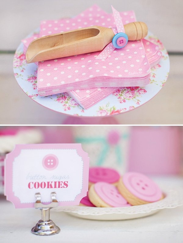 pink button cookies and wooden candy scoop
