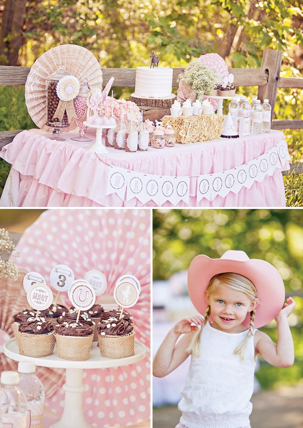 pink cowgirl party desserts table