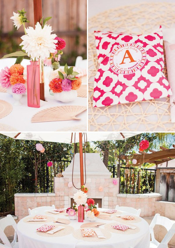 pink dahlia multi-vase tablescape