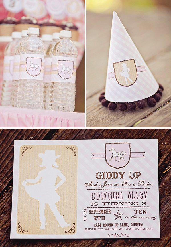 pink girly cowgirl party invitation
