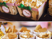 pink and gold decorated snack cups and baskets
