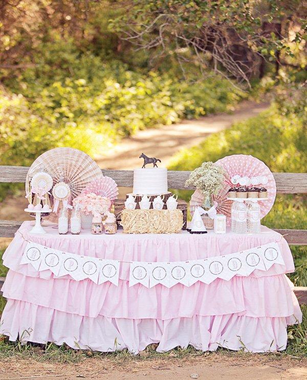 pink horse dessert table