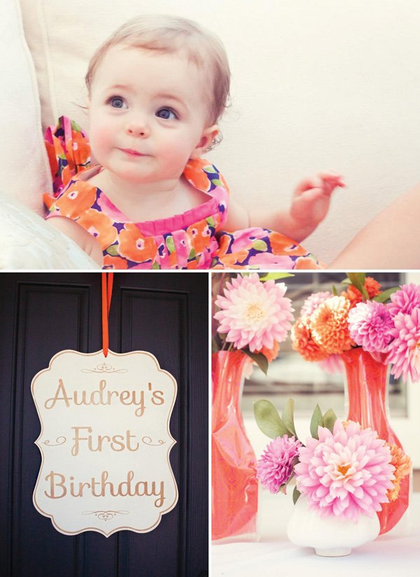 pink and orange girl's first birthday party outfit